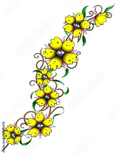 blumenranken tattoovorlage gelb von haramis kalfar lizenzfreies foto 10686478 auf. Black Bedroom Furniture Sets. Home Design Ideas