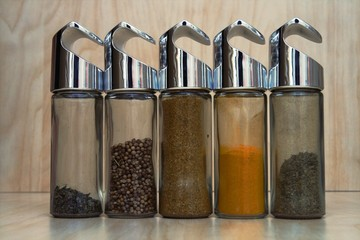 spices in glass tubes
