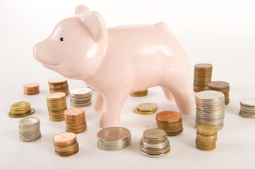 Piggybank with coins