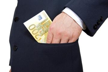 Put the money int he pocket