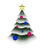 decorated evergreen tree over white poster