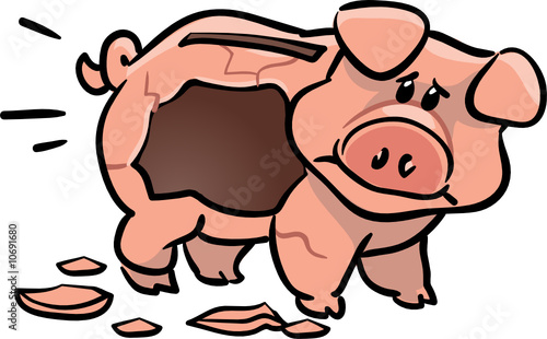 vector cute empty piggy bank illustration