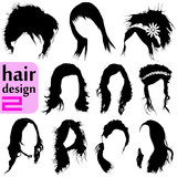 hair design vector set poster