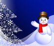 Snowman and New Year`s symbolic tree on blue