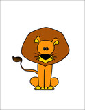 Comic lion on a white background poster