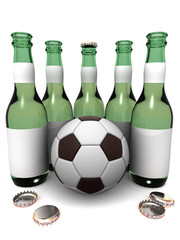 Bottles of beer and ball
