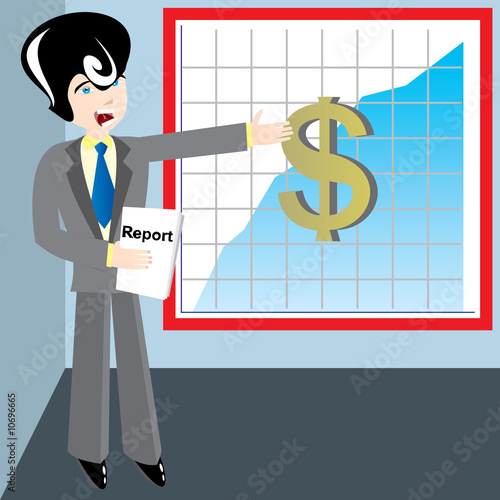 Young businessman speak about profit diagram.