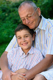 happy grandfather and grandson outdoors poster