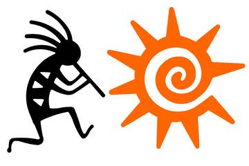 Black Kokopelli and orange sun