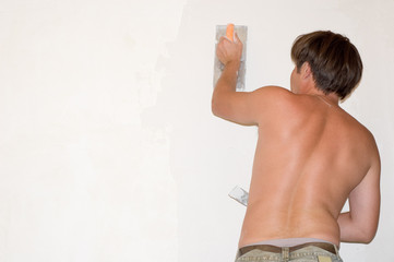 man make renovation indoor against white wall