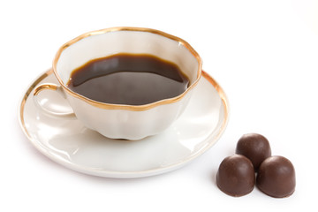 cup with coffee and chocolate
