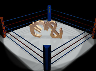 A dollar and euro fight on a ring