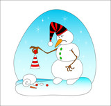 Two snowballs and penguin on a blue background poster