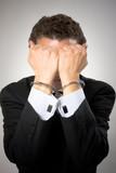 punition coupable menotte criminel finance cadre affaire busines poster