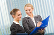 Two businesswomen working together at office