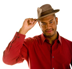Black Man in Red Shirt Tipping Brown Hat