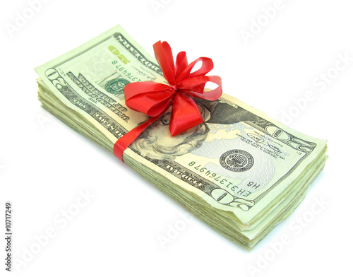 Thousend dollars for gift with red tie