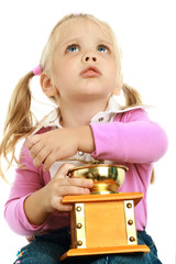 little girl and a coffee grinder