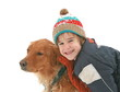 Boy in Snow Playing with Dog