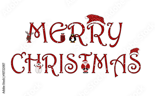 Merry Christmas Sign With Animations - Isolated on white