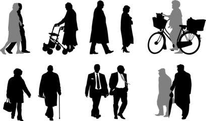 vector collection of senior  silhouettes
