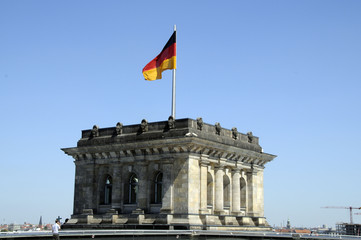 German flag flying over the Bundestag (Reichstag)