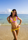 beautiful young  local woman on the beach in hawaii poster