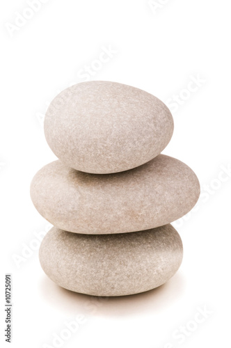 Stack of pebbles isolated on the white background