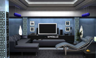 An interior Visualization a living room.