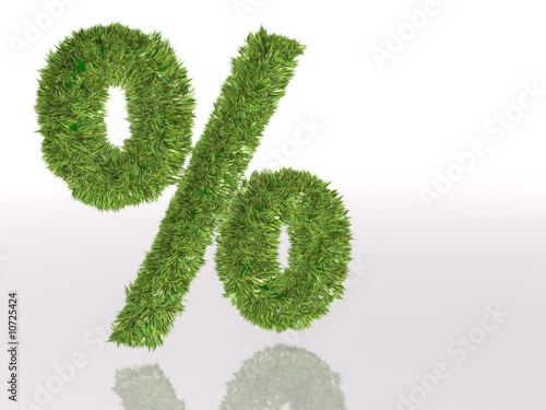 percent in green grass