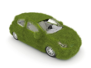 3d Ecological friendly auto decorated with green grass.