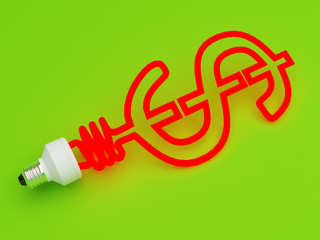 Energy saving lamp in the shape of the dollar
