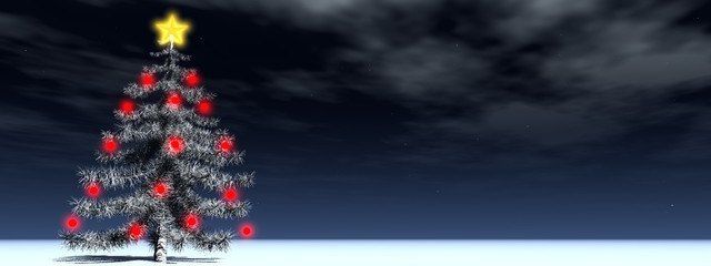 christmas landscape banner with a fir tree and red ornaments