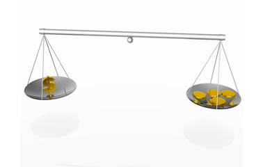 balance dollar and gold