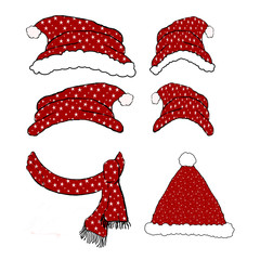 Red Winter Hat Cartoon Collection Page - Isolated on white