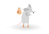 vector funny mouse with road bag