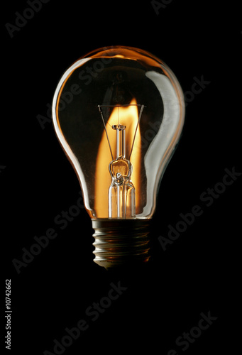 lightbulb  on black background