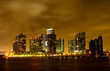 Miami City skyline at a stormy night