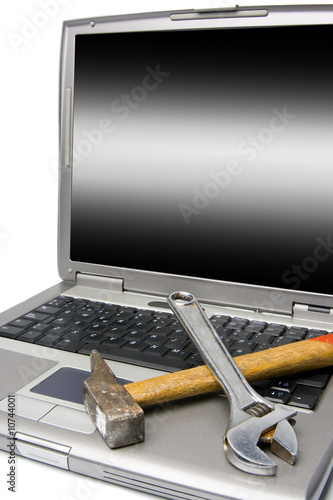 laptop and tools