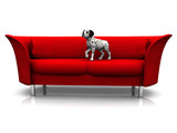 Dalmatian puppy in sofa poster