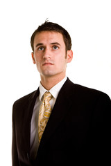 Young Man in Business Suit Looking Up