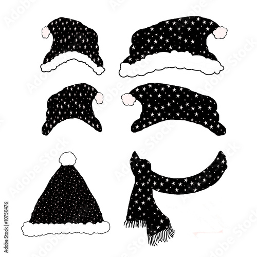 Black Winter Hat Cartoon Collection Page - Isolated on white