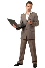 business man with notebook and mobile phone