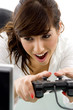 front view of female enjoying videogame