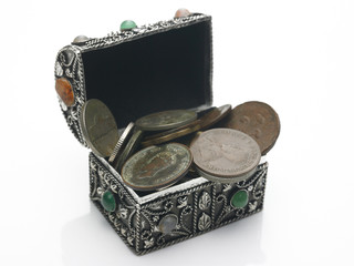 Coins in a antique box