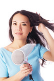 beautiful young woman with a hairdryer poster