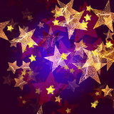 golden stars in blue and violet