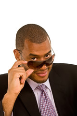 Black Businessman Looking Over his Sunglasses