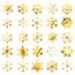 Golden snowflakes isolated