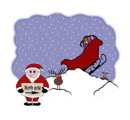 Crashed Hitching Santa Animation - Isolated On White